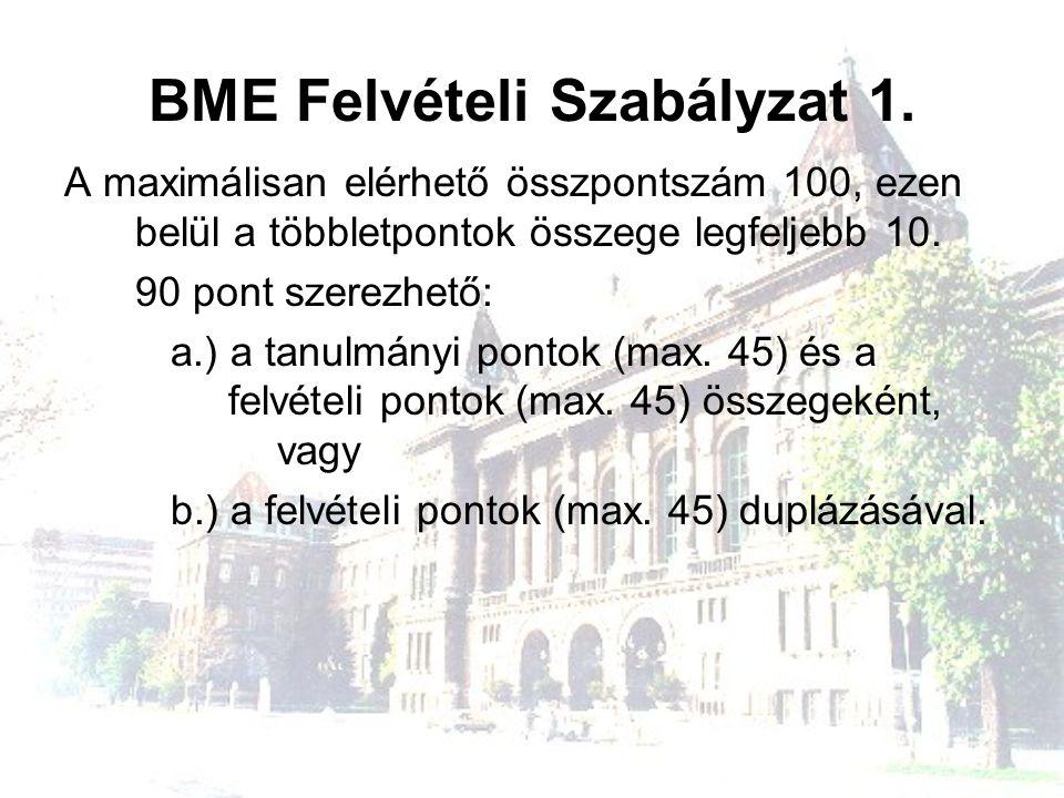 BME Felvételi Szabályzat 1. A maximálisan elérhető összpontszám 100, ezen belül a többletpontok összege legfeljebb 10. 90 pont szerezhető: a.) a tanul