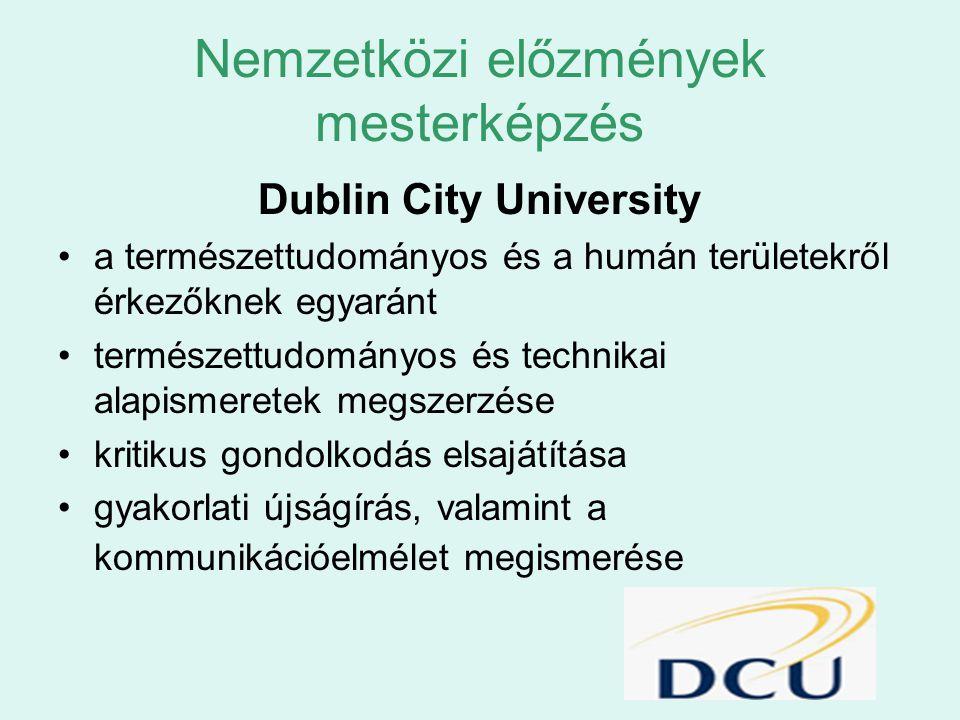 Nemzetközi előzmények mesterképzés Dublin City University a természettudományos és a humán területekről érkezőknek egyaránt természettudományos és tec