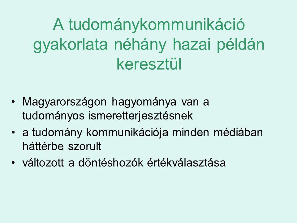 A tudománykommunikáció gyakorlata néhány hazai példán keresztül Magyarországon hagyománya van a tudományos ismeretterjesztésnek a tudomány kommunikáci