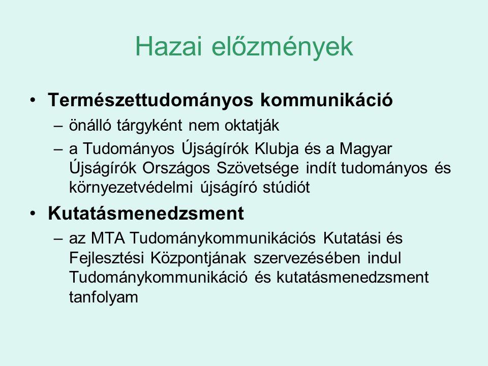 Hazai előzmények Természettudományos kommunikáció –önálló tárgyként nem oktatják –a Tudományos Újságírók Klubja és a Magyar Újságírók Országos Szövets