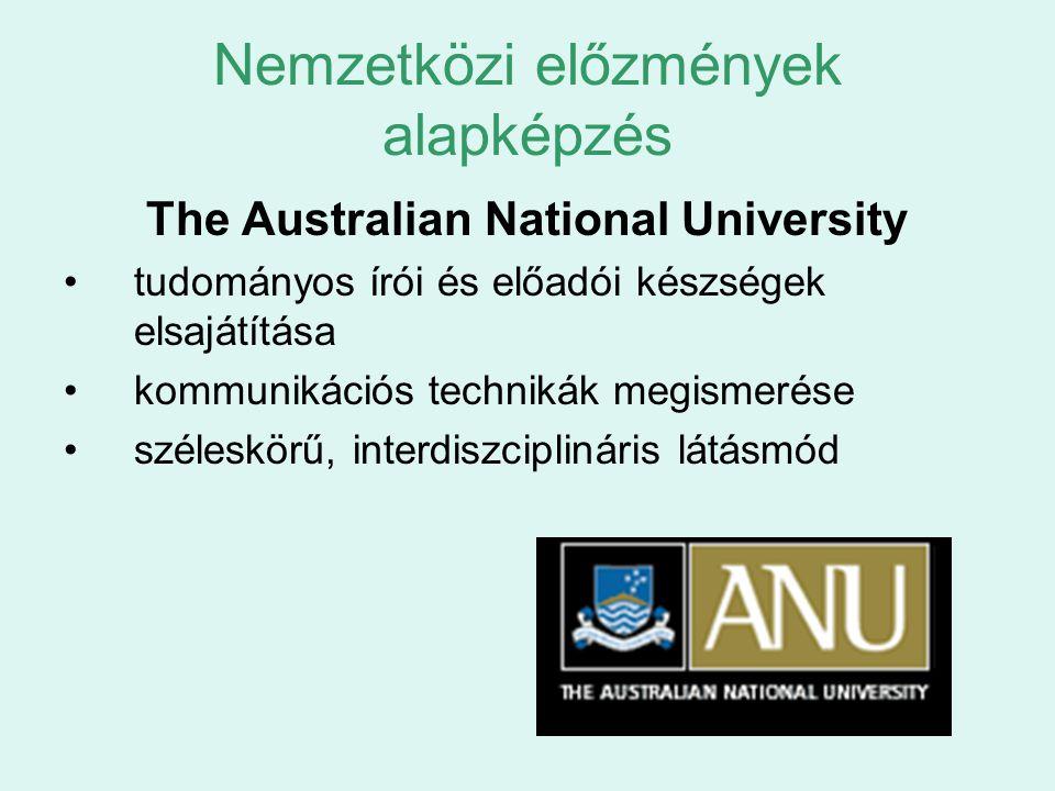 Nemzetközi előzmények alapképzés The Australian National University tudományos írói és előadói készségek elsajátítása kommunikációs technikák megismer