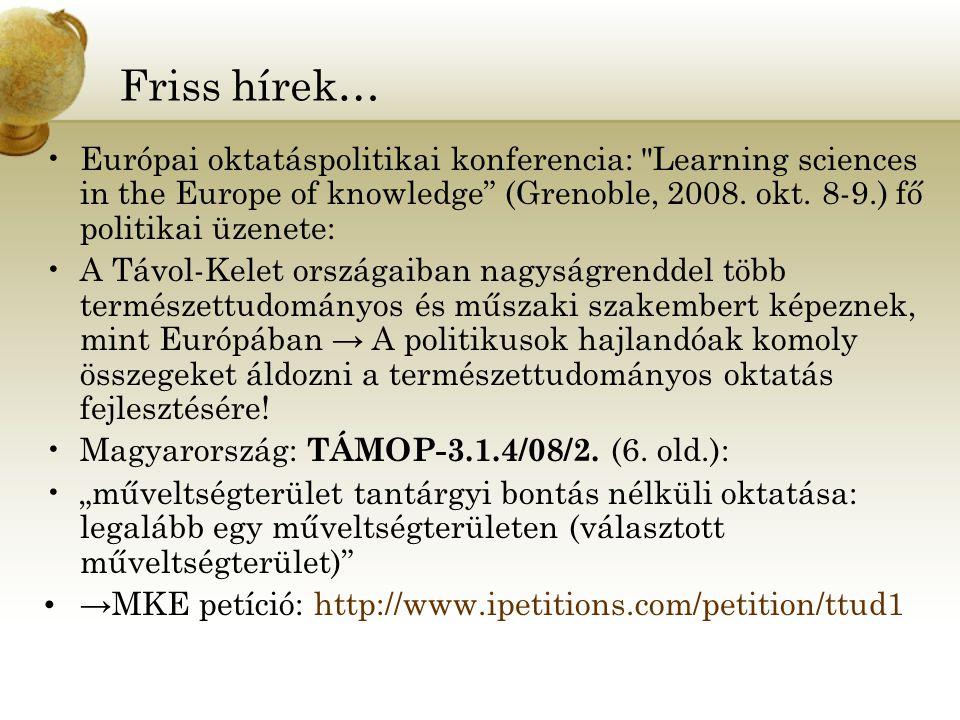 Friss hírek… Európai oktatáspolitikai konferencia: Learning sciences in the Europe of knowledge (Grenoble, 2008.