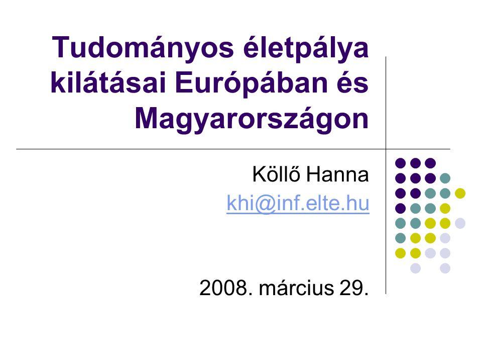 Tudományos életpálya kilátásai Európában és Magyarországon Köllő Hanna khi@inf.elte.hu 2008.