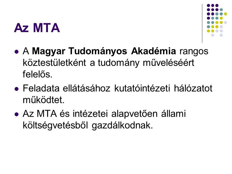Az MTA A Magyar Tudományos Akadémia rangos köztestületként a tudomány műveléséért felelős.