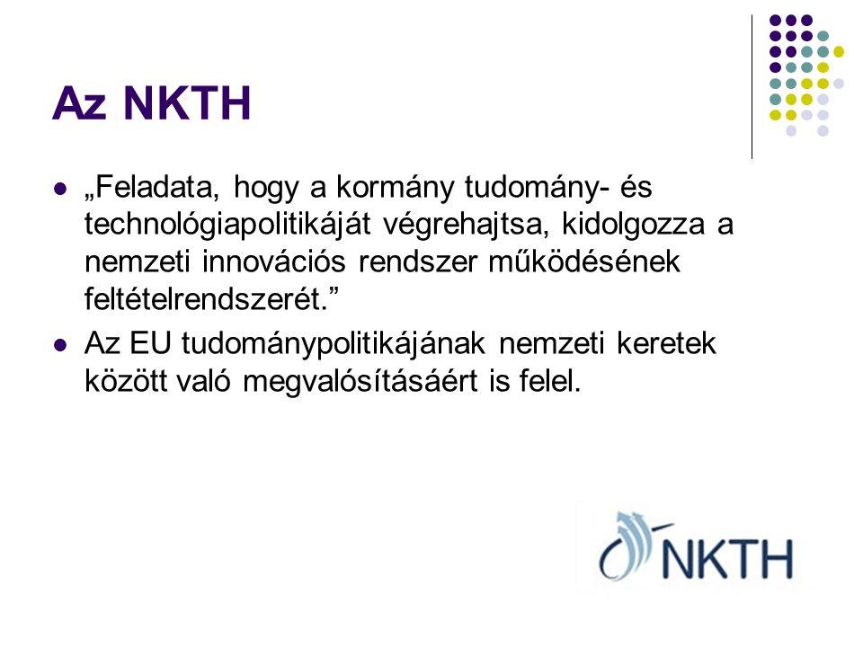 """Az NKTH """"Feladata, hogy a kormány tudomány- és technológiapolitikáját végrehajtsa, kidolgozza a nemzeti innovációs rendszer működésének feltételrendszerét. Az EU tudománypolitikájának nemzeti keretek között való megvalósításáért is felel."""