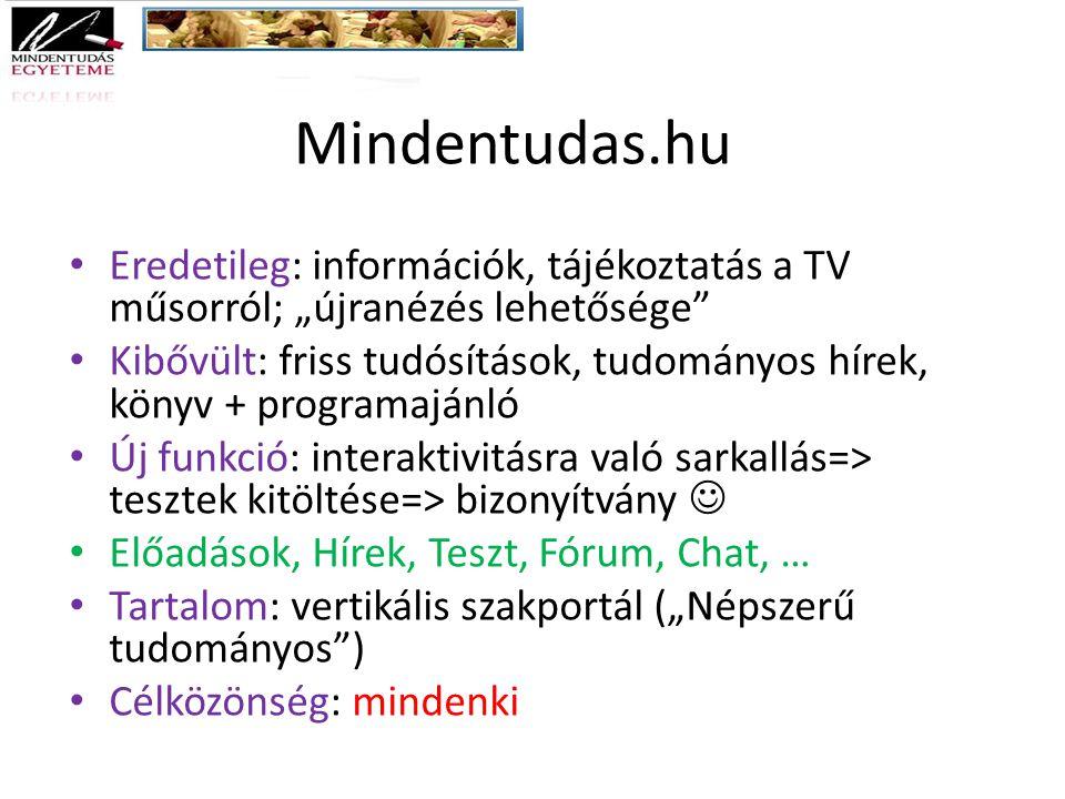 """Mindentudas.hu Eredetileg: információk, tájékoztatás a TV műsorról; """"újranézés lehetősége"""" Kibővült: friss tudósítások, tudományos hírek, könyv + prog"""