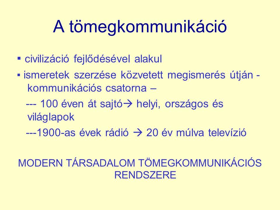 A tömegkommunikáció ▪ civilizáció fejlődésével alakul ▪ ismeretek szerzése közvetett megismerés útján - kommunikációs csatorna – --- 100 éven át sajtó  helyi, országos és világlapok ---1900-as évek rádió  20 év múlva televízió MODERN TÁRSADALOM TÖMEGKOMMUNIKÁCIÓS RENDSZERE