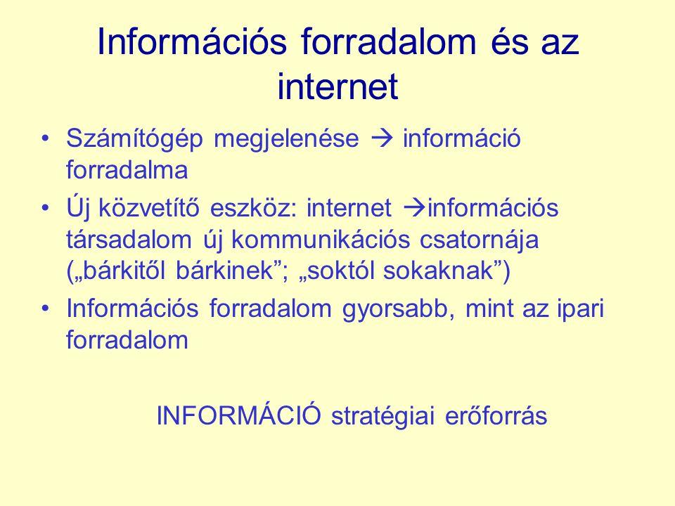 """Információs forradalom és az internet Számítógép megjelenése  információ forradalma Új közvetítő eszköz: internet  információs társadalom új kommunikációs csatornája (""""bárkitől bárkinek ; """"soktól sokaknak ) Információs forradalom gyorsabb, mint az ipari forradalom INFORMÁCIÓ stratégiai erőforrás"""