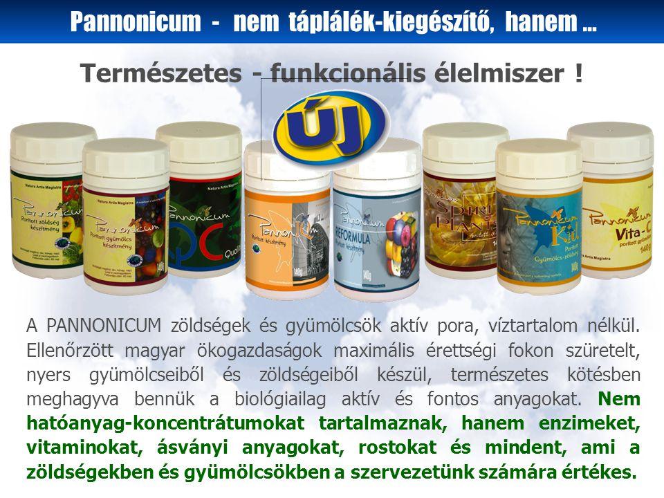A PANNONICUM zöldségek és gyümölcsök aktív pora, víztartalom nélkül.