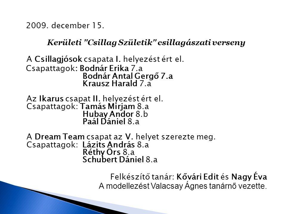 2009.december 15. Kerületi Csillag Születik csillagászati verseny A Csillagjósok csapata I.