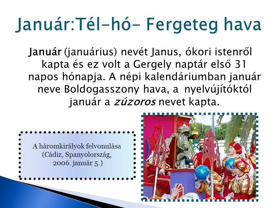 Január (januárius) nevét Janus, ókori istenről kapta és ez volt a Gergely naptár első 31 napos hónapja. A népi kalendáriumban január neve Boldogasszon