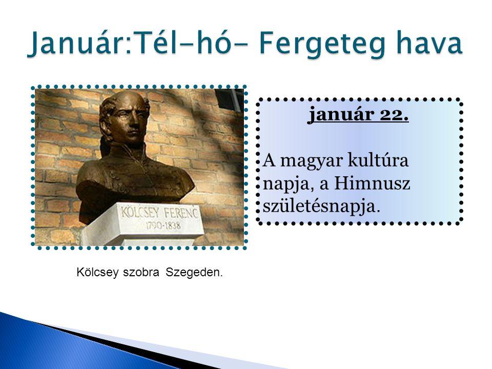 január 22. A magyar kultúra napja, a Himnusz születésnapja. Kölcsey szobraSzegeden.