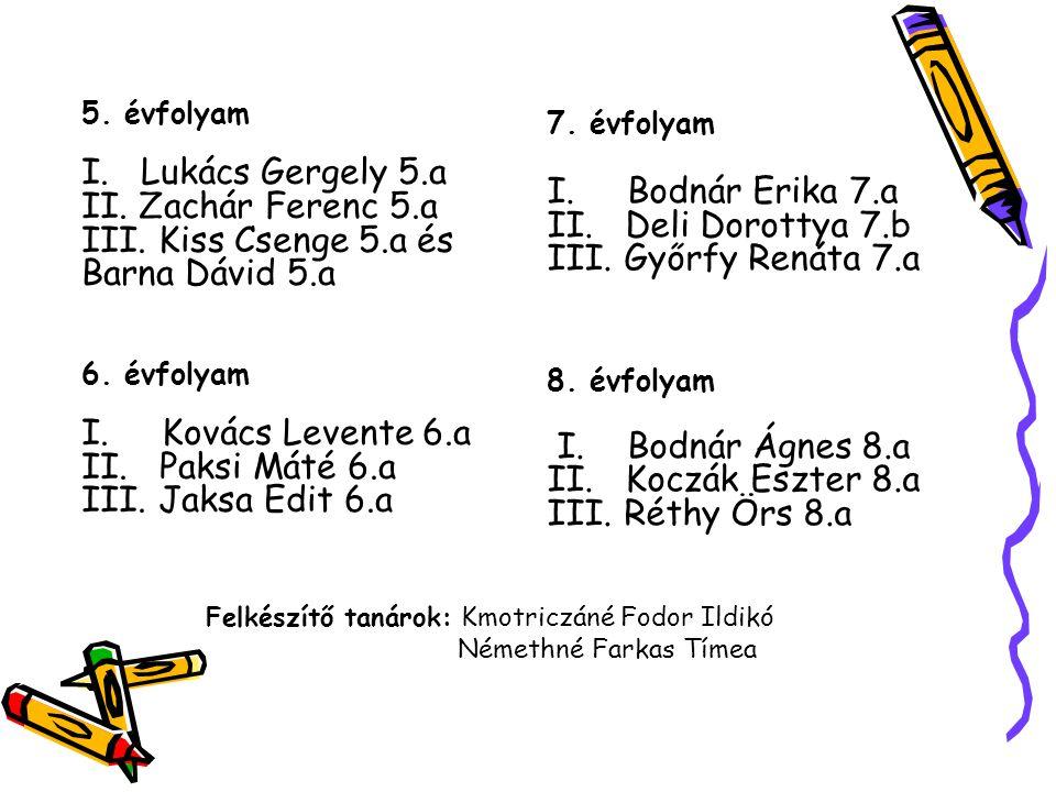 5. évfolyam I. Lukács Gergely 5.a II. Zachár Ferenc 5.a III. Kiss Csenge 5.a és Barna Dávid 5.a 6. évfolyam I. Kovács Levente 6.a II. Paksi Máté 6.a I