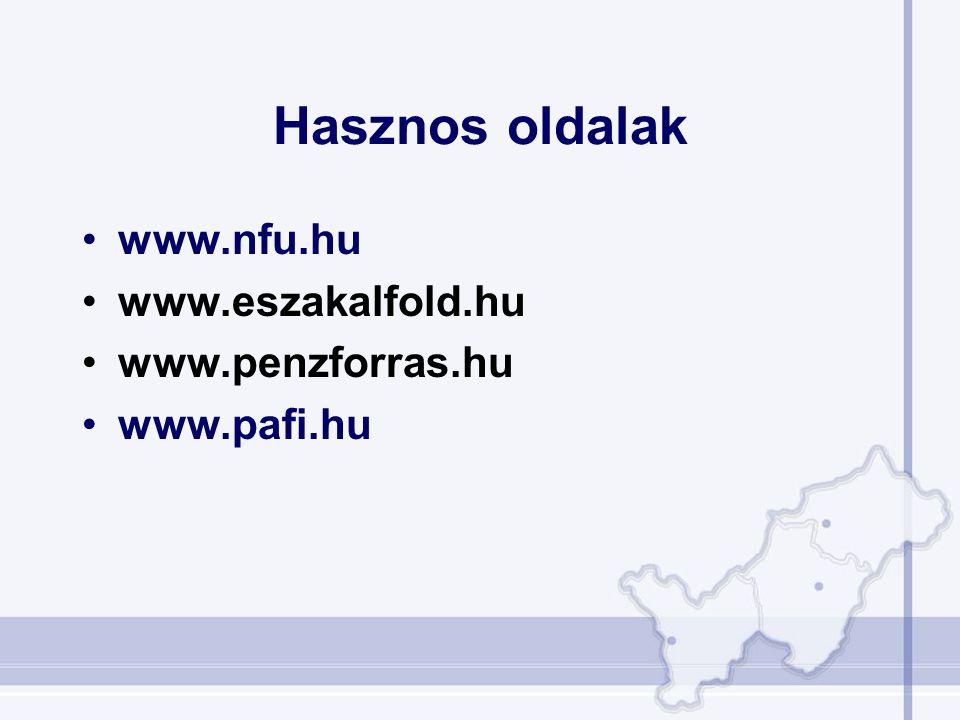 Hasznos oldalak www.nfu.hu www.eszakalfold.hu www.penzforras.hu www.pafi.hu