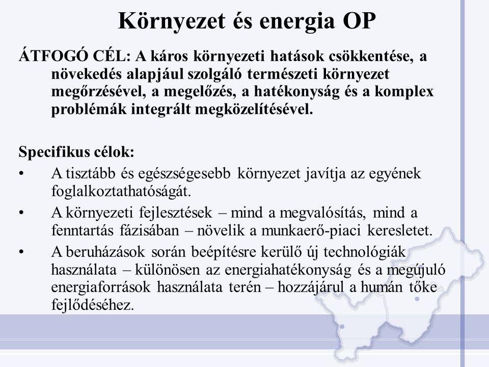 Környezet és energia OP ÁTFOGÓ CÉL: A káros környezeti hatások csökkentése, a növekedés alapjául szolgáló természeti környezet megőrzésével, a megelőzés, a hatékonyság és a komplex problémák integrált megközelítésével.