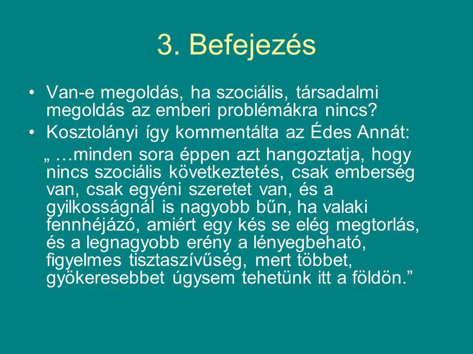 3.Befejezés Van-e megoldás, ha szociális, társadalmi megoldás az emberi problémákra nincs.