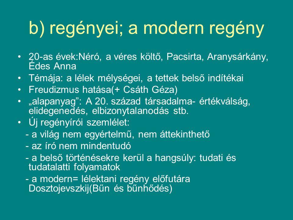 """b) regényei; a modern regény 20-as évek:Néró, a véres költő, Pacsirta, Aranysárkány, Édes Anna Témája: a lélek mélységei, a tettek belső indítékai Freudizmus hatása(+ Csáth Géza) """"alapanyag : A 20."""