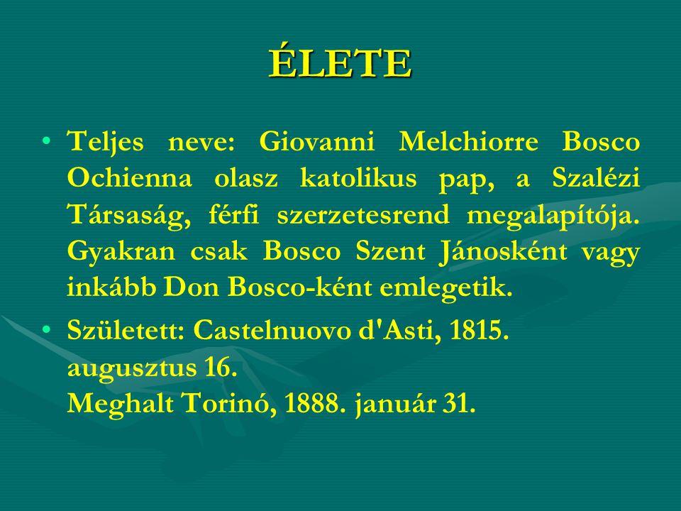 ÉLETE Teljes neve: Giovanni Melchiorre Bosco Ochienna olasz katolikus pap, a Szalézi Társaság, férfi szerzetesrend megalapítója. Gyakran csak Bosco Sz
