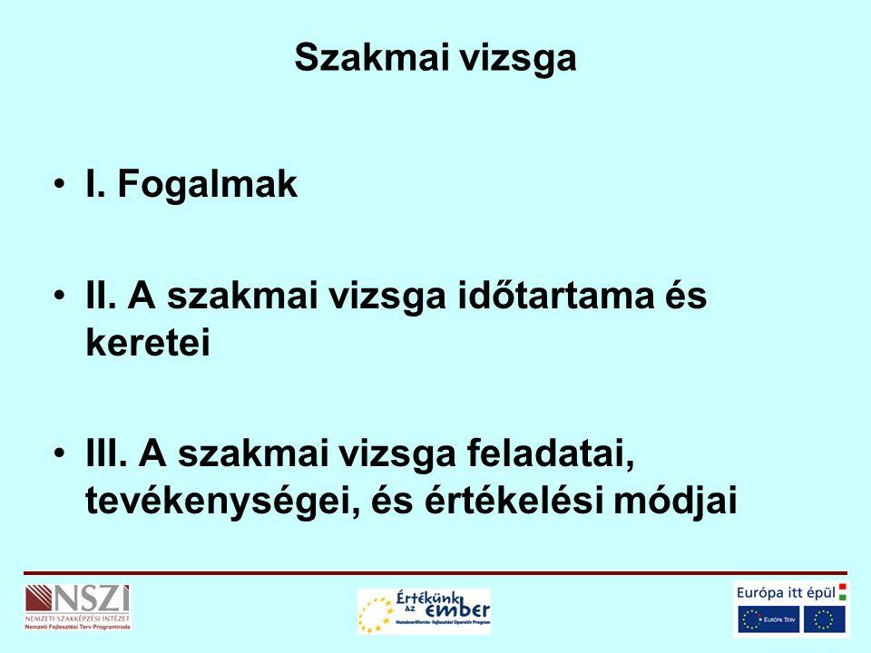 Szakmai vizsga I. Fogalmak II. A szakmai vizsga időtartama és keretei III.