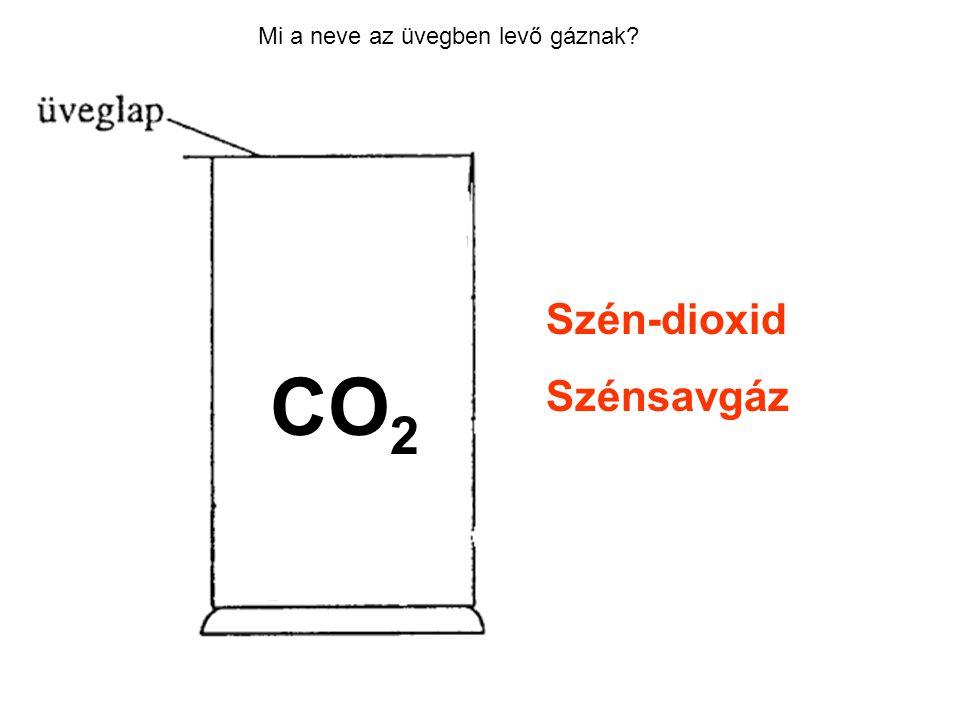 Mi a neve az üvegben levő gáznak? Szén-dioxid Szénsavgáz CO 2