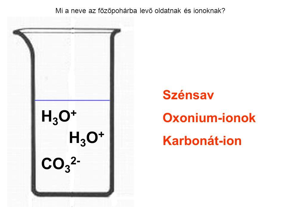 Mi a neve az főzőpohárba levő oldatnak és ionoknak? Szénsav Oxonium-ionok Karbonát-ion H3O+H3O+ H3O+H3O+ CO 3 2-