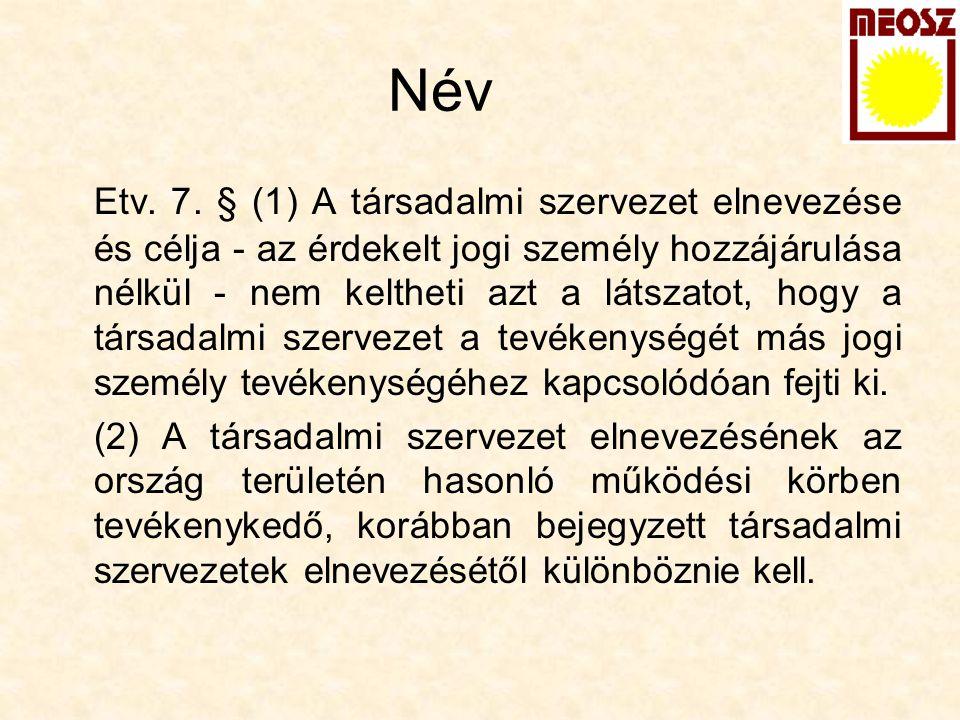 Név Etv. 7. § (1) A társadalmi szervezet elnevezése és célja - az érdekelt jogi személy hozzájárulása nélkül - nem keltheti azt a látszatot, hogy a tá