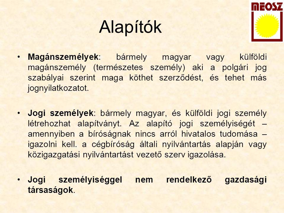 Alapítók Magánszemélyek: bármely magyar vagy külföldi magánszemély (természetes személy) aki a polgári jog szabályai szerint maga köthet szerződést, é