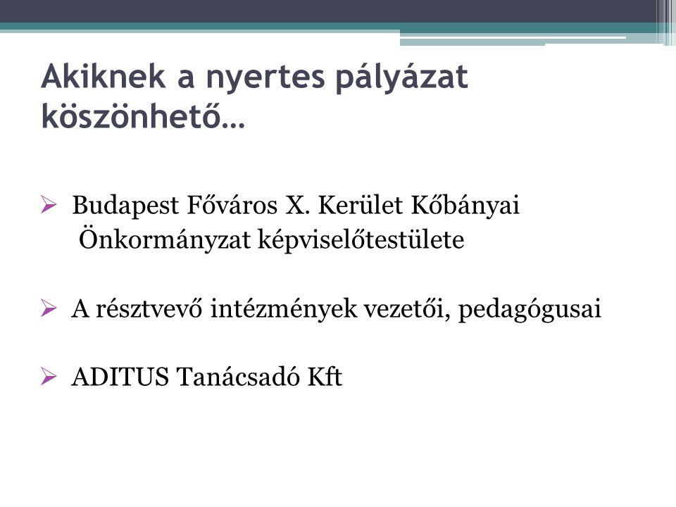 További közreműködők OKMT Közép-Magyarországi Hálózatkoordinációs Regionális Központ Polgármesteri Hivatal Oktatási és Közművelődési Főosztály Pénzügyi Főosztály Jogi Osztály Városüzemeltetési és vagyongazdálkodási Főosztály Polgármesteri Kabinet