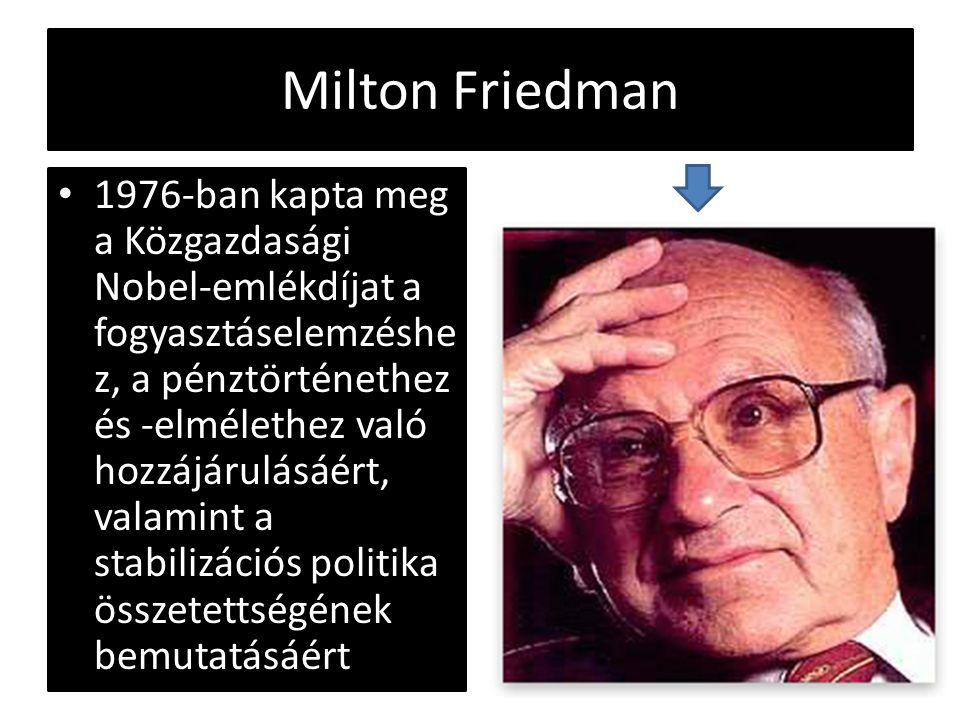 Milton Friedman 1976-ban kapta meg a Közgazdasági Nobel-emlékdíjat a fogyasztáselemzéshe z, a pénztörténethez és -elmélethez való hozzájárulásáért, va