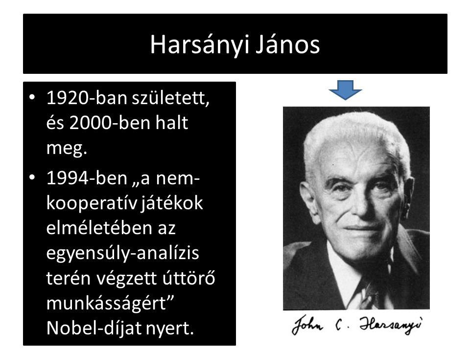"""Harsányi János 1920-ban született, és 2000-ben halt meg. 1994-ben """"a nem- kooperatív játékok elméletében az egyensúly-analízis terén végzett úttörő mu"""