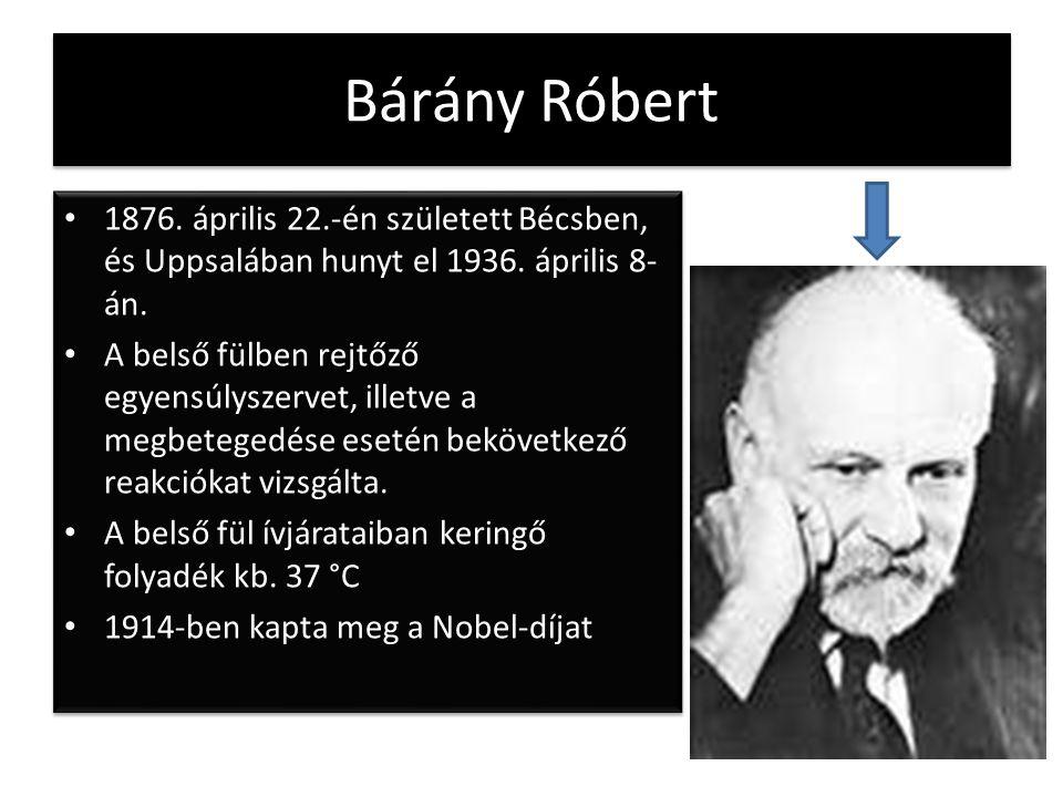 Bárány Róbert 1876. április 22.-én született Bécsben, és Uppsalában hunyt el 1936. április 8- án. A belső fülben rejtőző egyensúlyszervet, illetve a m