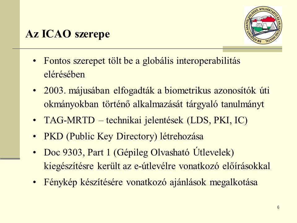 6 Az ICAO szerepe Fontos szerepet tölt be a globális interoperabilitás elérésében 2003. májusában elfogadták a biometrikus azonosítók úti okmányokban