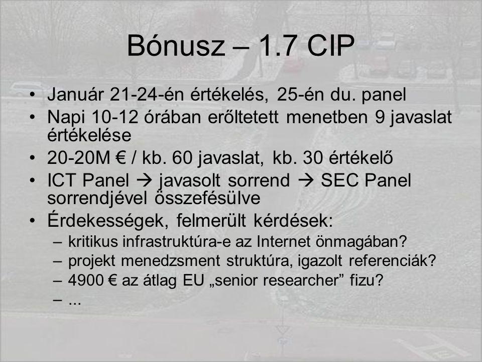Bónusz – 1.7 CIP Január 21-24-én értékelés, 25-én du.
