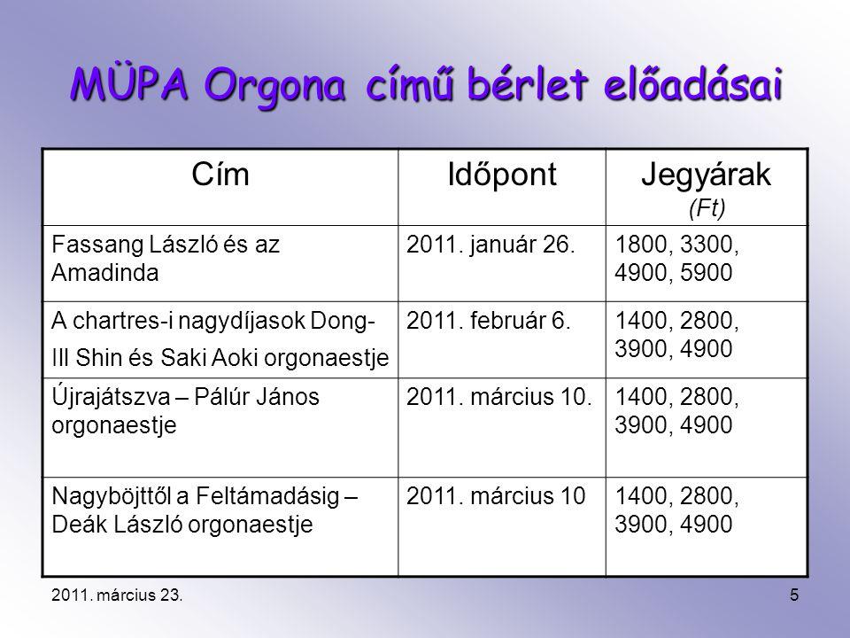 2011. március 23.5 MÜPA Orgona című bérlet előadásai CímIdőpontJegyárak (Ft) Fassang László és az Amadinda 2011. január 26.1800, 3300, 4900, 5900 A ch
