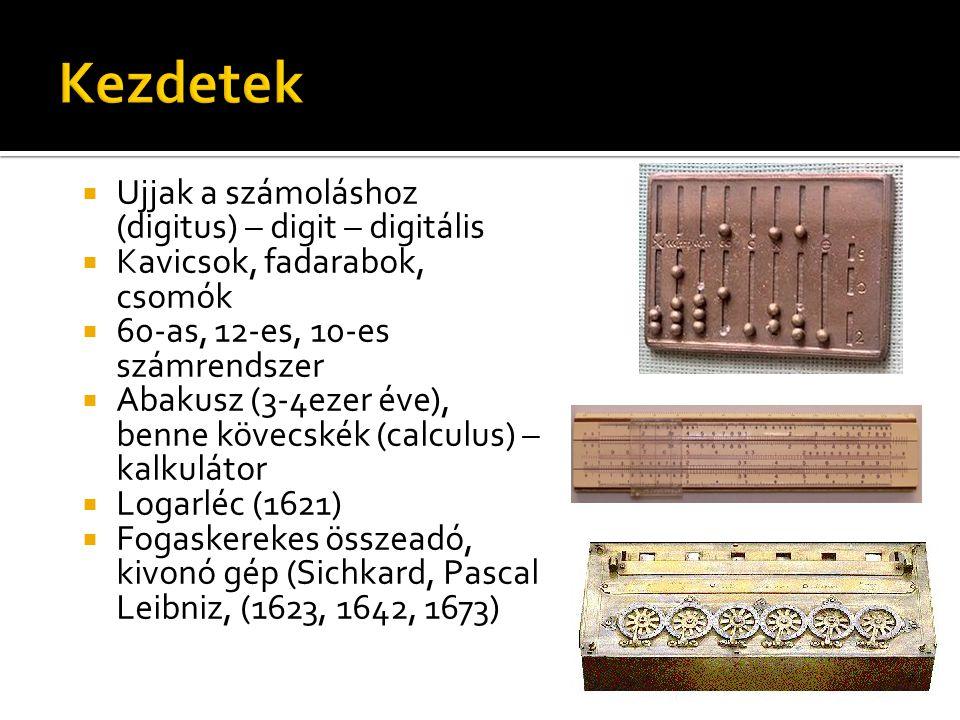  Ujjak a számoláshoz (digitus) – digit – digitális  Kavicsok, fadarabok, csomók  60-as, 12-es, 10-es számrendszer  Abakusz (3-4ezer éve), benne kövecskék (calculus) – kalkulátor  Logarléc (1621)  Fogaskerekes összeadó, kivonó gép (Sichkard, Pascal Leibniz, (1623, 1642, 1673)