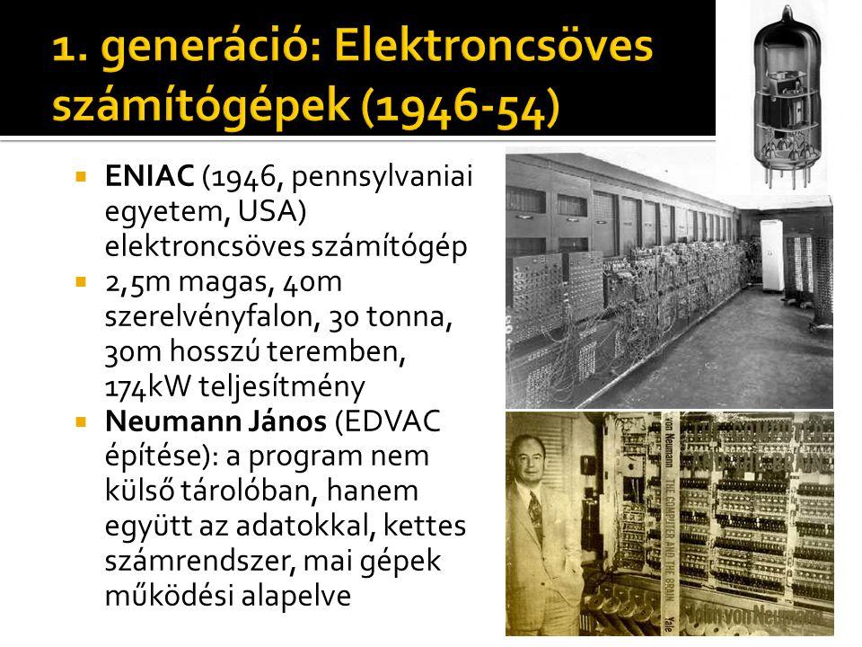  ENIAC (1946, pennsylvaniai egyetem, USA) elektroncsöves számítógép  2,5m magas, 40m szerelvényfalon, 30 tonna, 30m hosszú teremben, 174kW teljesítmény  Neumann János (EDVAC építése): a program nem külső tárolóban, hanem együtt az adatokkal, kettes számrendszer, mai gépek működési alapelve