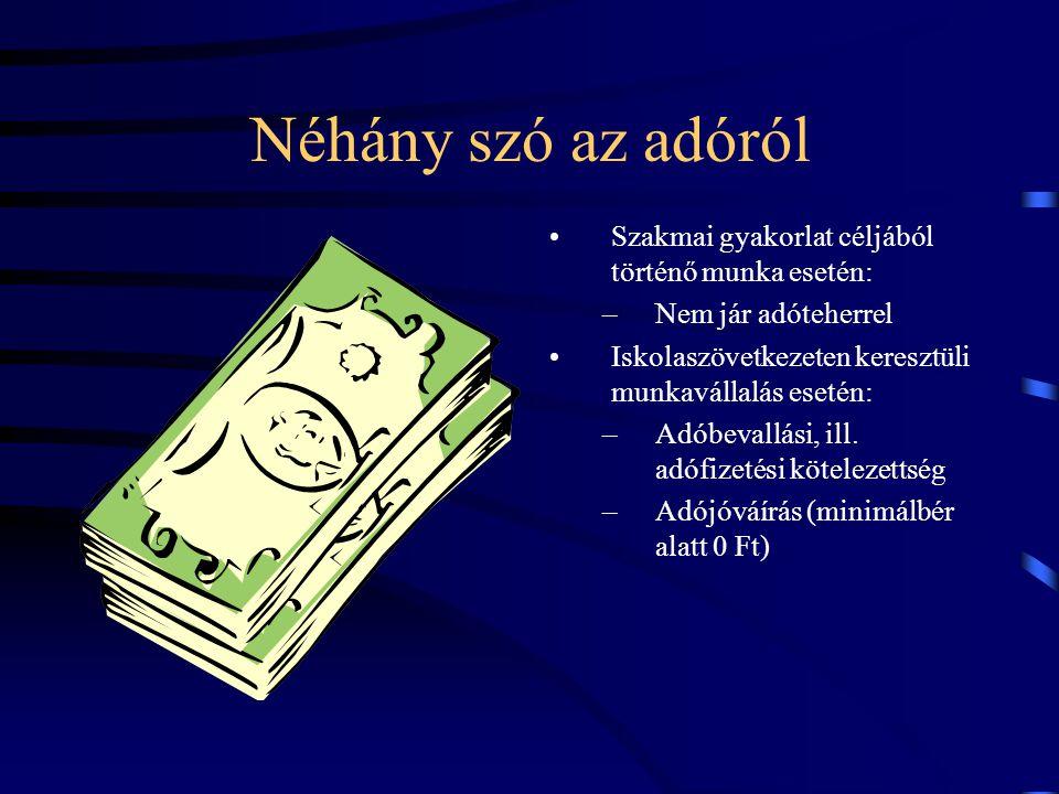 Néhány szó az adóról Szakmai gyakorlat céljából történő munka esetén: –Nem jár adóteherrel Iskolaszövetkezeten keresztüli munkavállalás esetén: –Adóbe