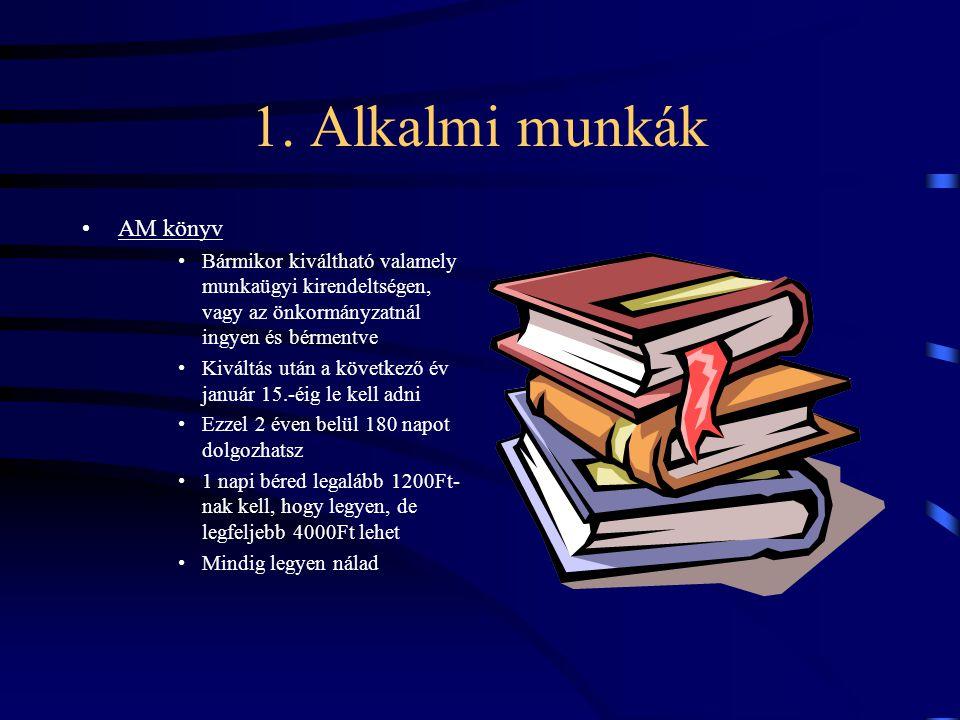 1. Alkalmi munkák AM könyv Bármikor kiváltható valamely munkaügyi kirendeltségen, vagy az önkormányzatnál ingyen és bérmentve Kiváltás után a következ