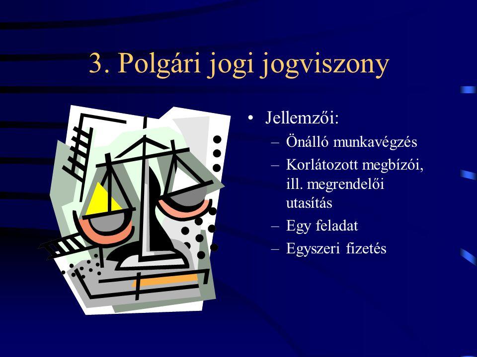 3. Polgári jogi jogviszony Jellemzői: –Önálló munkavégzés –Korlátozott megbízói, ill. megrendelői utasítás –Egy feladat –Egyszeri fizetés