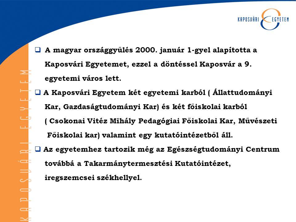  A magyar országgyűlés 2000. január 1-gyel alapította a Kaposvári Egyetemet, ezzel a döntéssel Kaposvár a 9. egyetemi város lett.  A Kaposvári Egyet