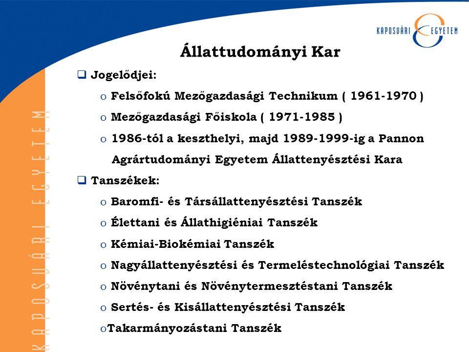Állattudományi Kar  Jogelődjei: o Felsőfokú Mezőgazdasági Technikum ( 1961-1970 ) o Mezőgazdasági Főiskola ( 1971-1985 ) o 1986-tól a keszthelyi, maj