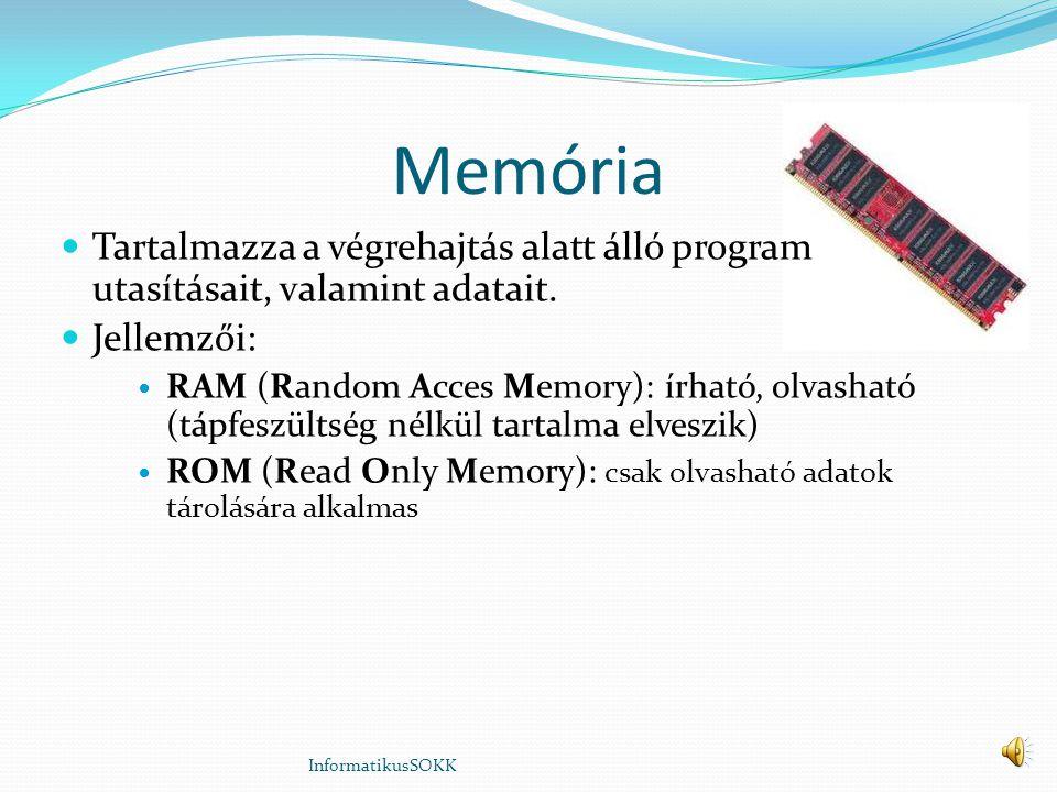 Memória Tartalmazza a végrehajtás alatt álló program utasításait, valamint adatait.
