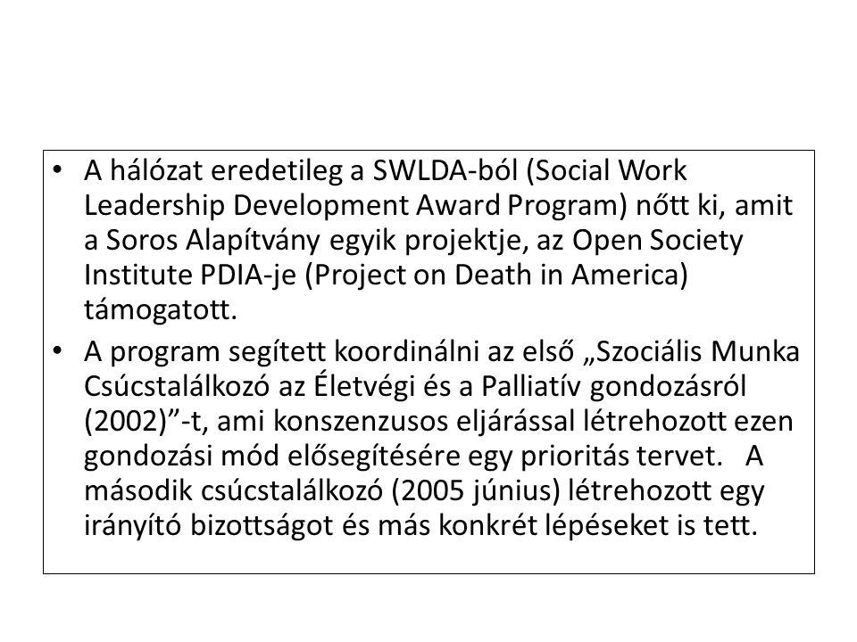 A hálózat eredetileg a SWLDA-ból (Social Work Leadership Development Award Program) nőtt ki, amit a Soros Alapítvány egyik projektje, az Open Society Institute PDIA-je (Project on Death in America) támogatott.