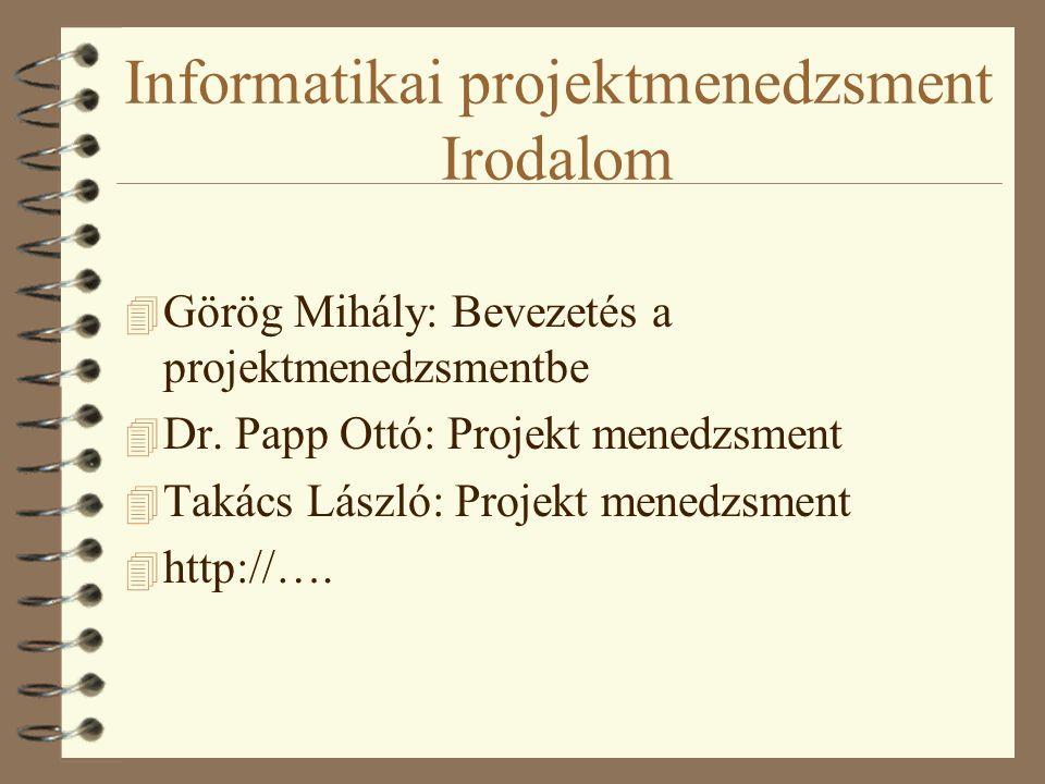Informatikai projektmenedzsment Irodalom 4 Görög Mihály: Bevezetés a projektmenedzsmentbe 4 Dr.