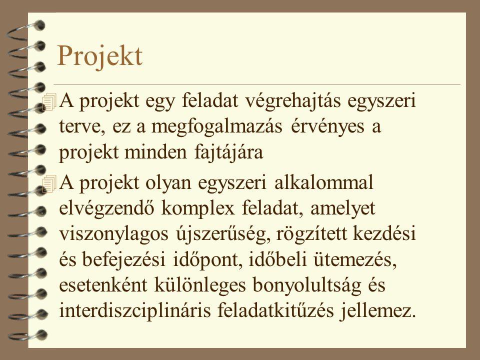 Projekt 4 A projekt olyan összefüggő tevékenységek sorozata, amely valamilyen kitűzött eredmény elérésére irányul, meghatározott idő alatt végzendő el, és többnyire adott költségkeret meghatározásával 4 egyszeri, komplex folyamat, meghatározott műszaki paraméterű cél, időben és pénzértékben meghatározott