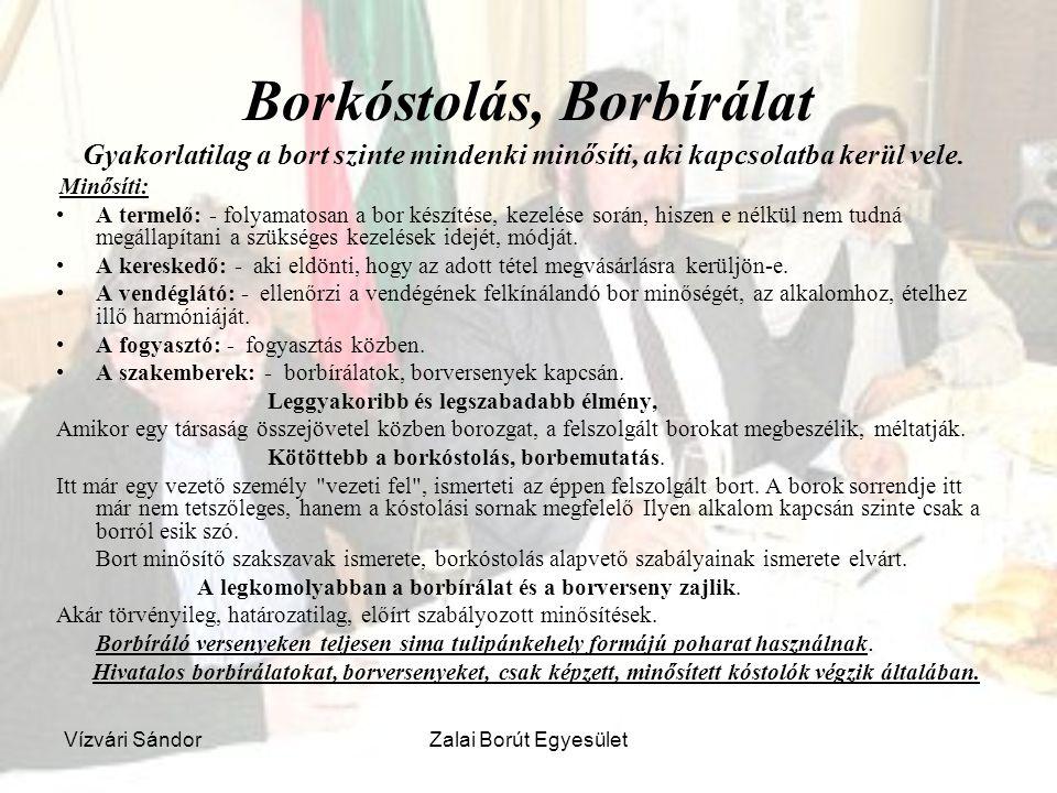 Vízvári SándorZalai Borút Egyesület Borkóstolás, Borbírálat Gyakorlatilag a bort szinte mindenki minősíti, aki kapcsolatba kerül vele. Minősíti: A ter