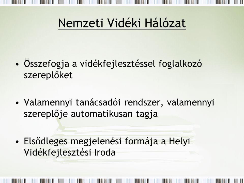 Helyi Vidékfejlesztési Iroda CELODIN Zalai Alapítvány Zalaszentgróti Statisztikai Kistérség Kistérségi szinten kialakított Jogilag szabályozott keretben működik Összehangolja és koordinálja a kistérségi munkát