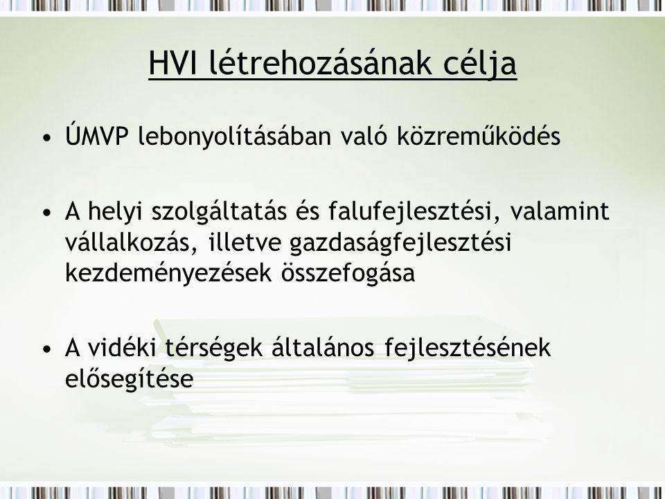 HVI létrehozásának célja ÚMVP lebonyolításában való közreműködés A helyi szolgáltatás és falufejlesztési, valamint vállalkozás, illetve gazdaságfejlesztési kezdeményezések összefogása A vidéki térségek általános fejlesztésének elősegítése