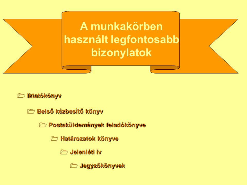 A munkakörben használt legfontosabb bizonylatok  Jelenléti ív  Iktatókönyv  Belső kézbesítő könyv  Határozatok könyve  Postaküldemények feladókön