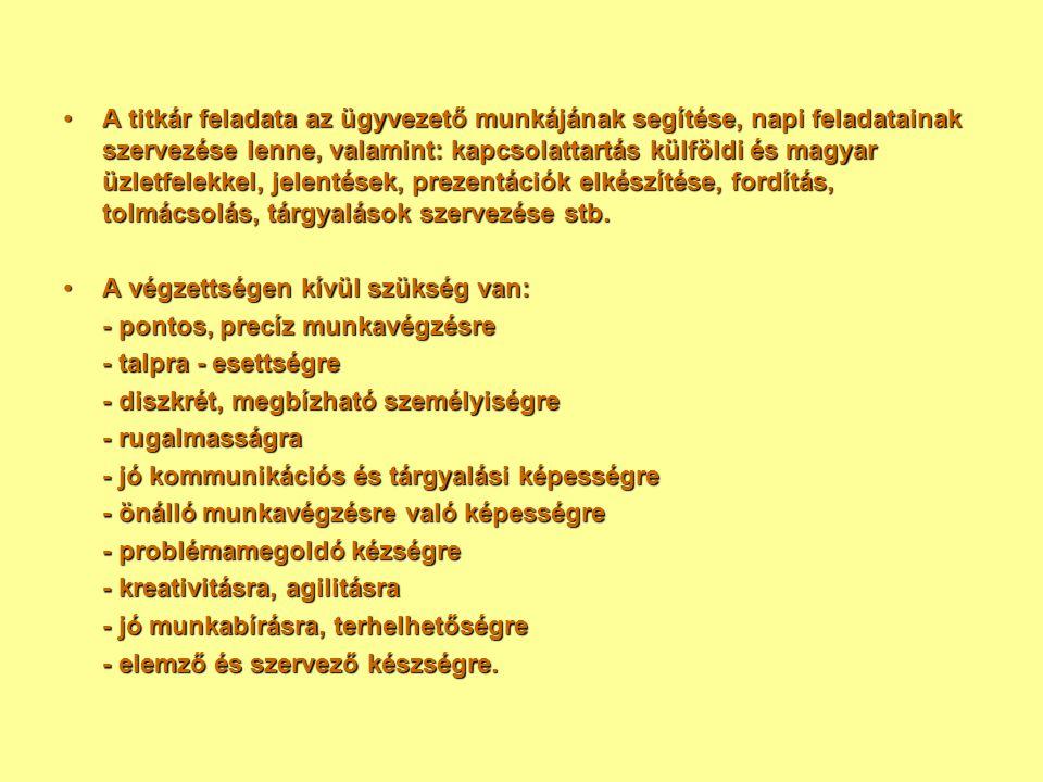 A titkár feladata az ügyvezető munkájának segítése, napi feladatainak szervezése lenne, valamint: kapcsolattartás külföldi és magyar üzletfelekkel, je